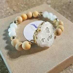 White, Druzy stone bracelet