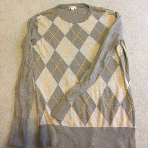 Gray and Yellow Argyle Sweater