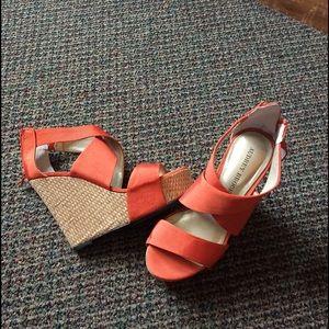 Audrey Brooke Shoes - Audrey Brooke orange wedges