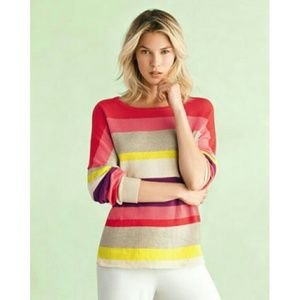 Minnie Rose Striped Relaxed Pullover