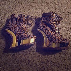 alba Shoes - Alba Leopard print Wedges shoes