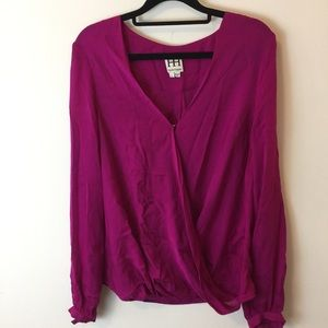 Haute Hippie Tops - Haute Hippie Magenta Pink Silk Blouse Shirt Top