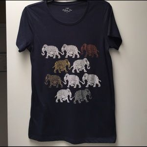 Navy J Crew Collectors tee with Elephants on Front