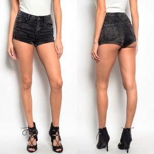 Pants - Black Acid Wash Cheeky Shorts