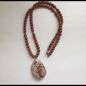 Beaded Stone Pendant Necklace
