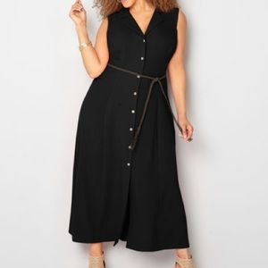 Avenue Dresses & Skirts - BUTTON FRONT BELT MAXI DRESS