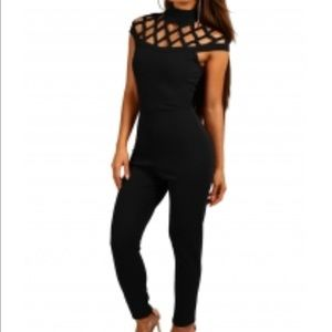 Pants - Black Cage Top Skinny Fit Jumpsuit