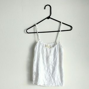Hollister Tops - Hollister white floral lacey tank top