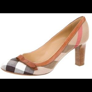 Burberry Shoes - Burberry Nova Check Heels with Leather Bow/Trim