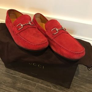 eada075dd Gucci Shoes   Red Suede Loafers Like New   Poshmark