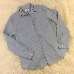 Ann Taylor LOFT Softened Beaded Button Down