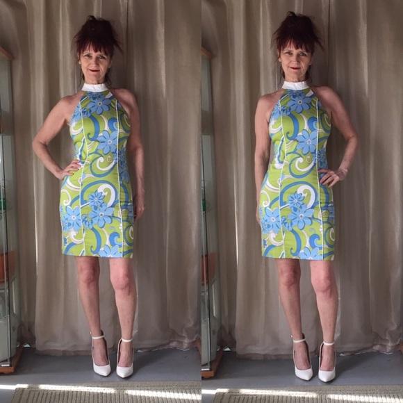 Vintage Dresses & Skirts - VINTAGE GREEN, BLUE & WHITE RETRO DRESS