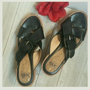 Sofft Shoes - Sofft Black Leather Cork sandals