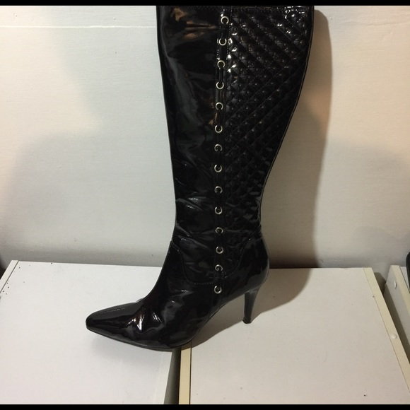 28992588dc2 Newport News Shoes | Patent Leather Black Quilted Boots | Poshmark