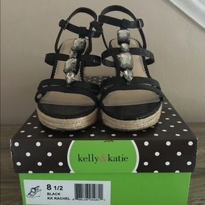 Kelly & Katie Shoes - Kelly and Katie Black Jeweled Sandals