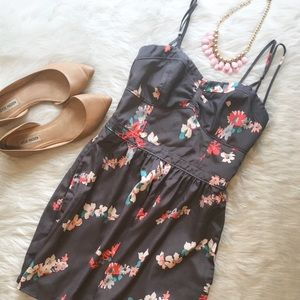 American Eagle Outfitters Dresses & Skirts - American Eagle Gray Floral Pocket Dress