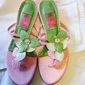 Lilly Pulitzer Shoes - Lilly Pulitzer pink leather sandals. Size 9.5