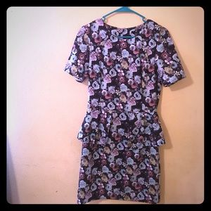 H & M floral peplum style dress size 8