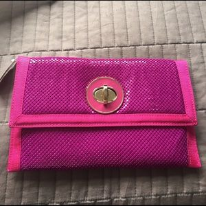 Handbags - Fuchsia color metal clutch or cross body