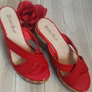 2 Lips Too Shoes - Red Patent Twine Sandals