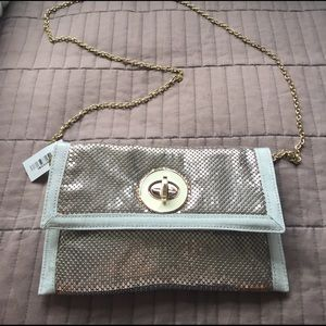 Handbags - Silver metal clutch bag or cross body bag