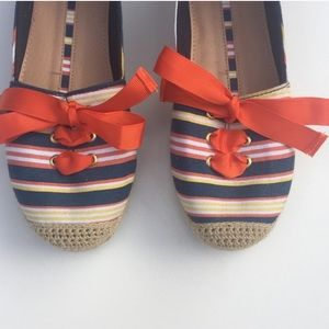 new directions Shoes - New Directions Striped Bow Espadrilles