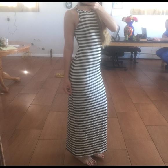 Rebel Sugar Dresses Black And White Striped Backless Dress M