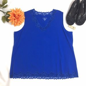 Coldwater Creek Tops - NWT COLDWATER CREEK BLUE TANK WITH LACE SIZE 2X
