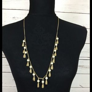 NWT J.CREW Gold Chain pearls and fringe necklace.