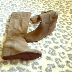 Nine West taupe tall boots
