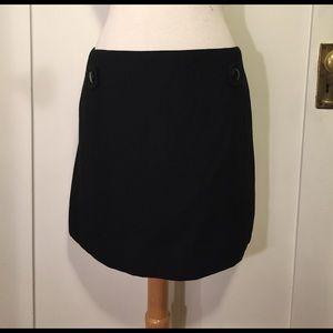 J.Crew black wall pencil skirt accent buttons