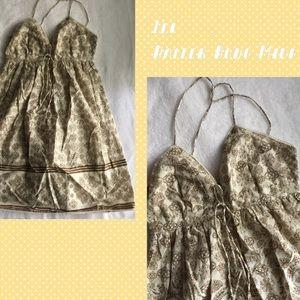 lei Dresses & Skirts - Lei Halter Boho Cream and Brown Midi Dress M