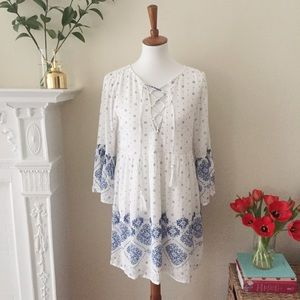 Dresses & Skirts - Bohemian Blue & White Dress