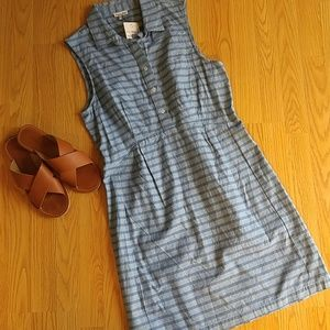 Steven Alan Dresses & Skirts - Steven Alan Blue Sleeveless Stripe Shirtdress
