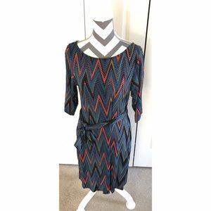 Leota Dresses & Skirts - Leota 3/4 length Chevron Dress with Belt