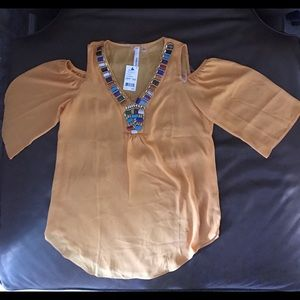 NY Collection Tops - NWT NY Collection Cold - Shoulder Beaded Blouse