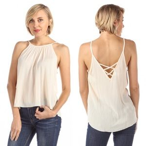 Strappy Back High Low Gauzey Cami Blouse Beige