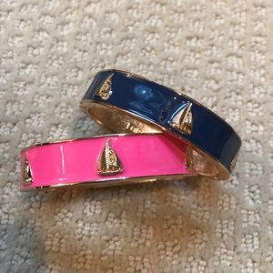Jewelry - Navy and pink enamel bangles