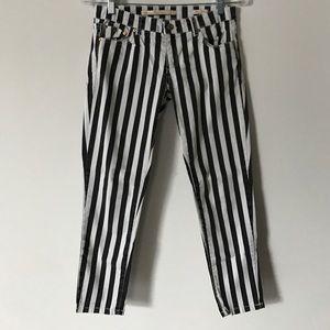 Zara navy and white stiped skinny pant
