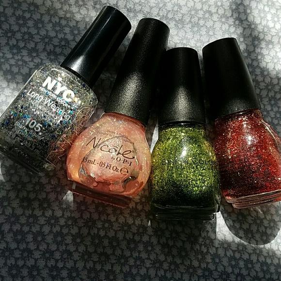 Sinful Colors Other | Top Coat Glitter Nail Polish Bundle | Poshmark