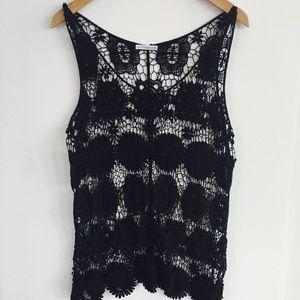 Flotsi Design Tops - Knit black crocheted tank OS