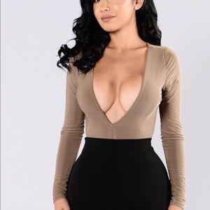 Fashion Nova Tops - Fashion Nova Mocha Deep V Bodysuit Medium