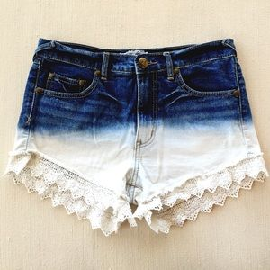 Free People Pants - FREE PEOPLE Dip Dye/Lace High Waisted Jean Shorts
