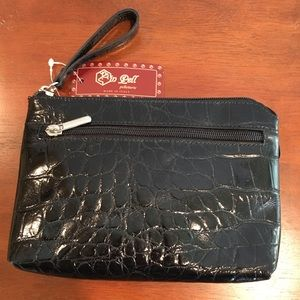 Black Leather Croc Embossed Cosmetic Pouch, Italy