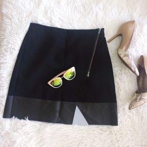 CLUB MONACO black zippered cut out mini skirt