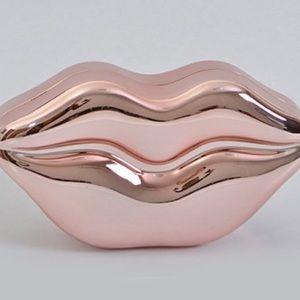 Handbags - New w/Defects RoseGold Metallic Kiss Me Clutch 💋