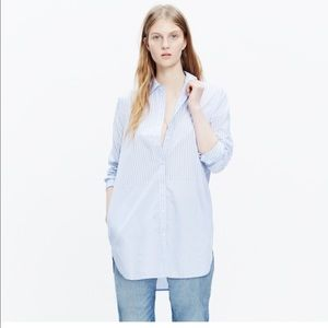 NWOT Madewell Button-down Tunic Shirt in Stripemix