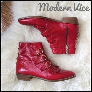Modern Vice Shoes - Modern Vice Jett Last Red Moto Buckle Booties 36.5