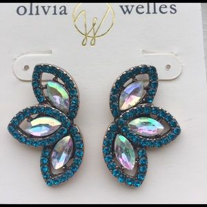 Olivia Welles green crystal & gold Dana earrings