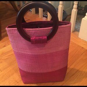 Handbags - Raw Silk handbag with wooden handles
